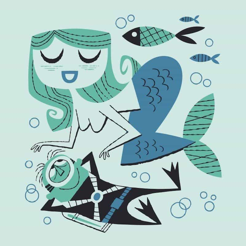 derek yaniger mermaid love print