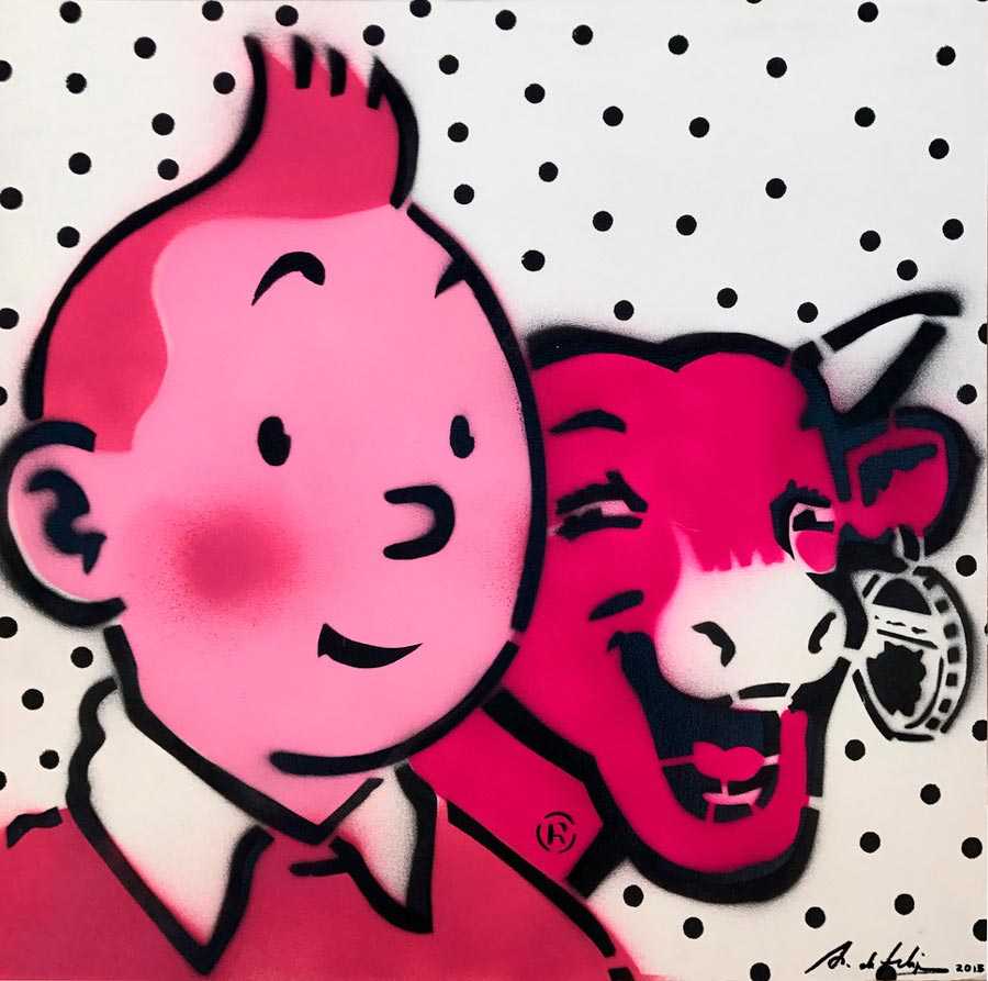 antonio-de-felipe-La-vaquita-de-Tin-Tin-rosa-fondo-blanco-puntos-negros