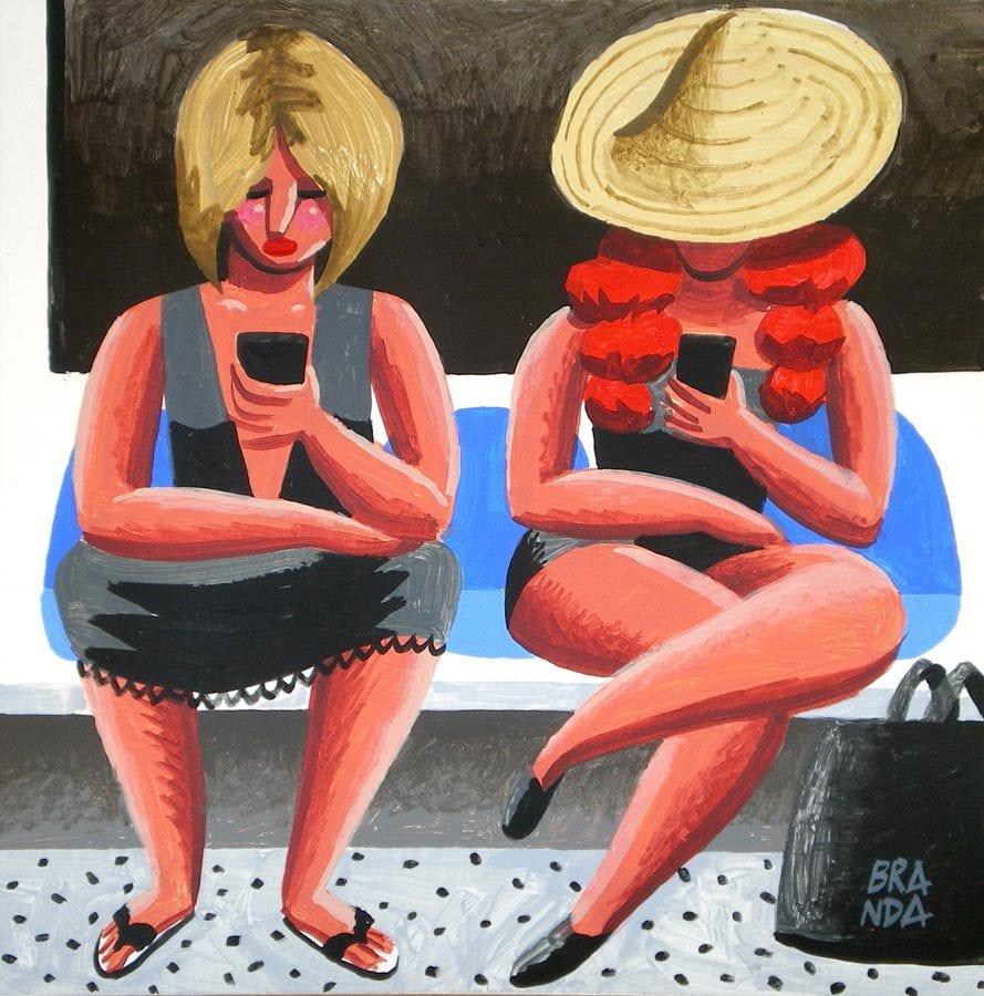 branda-Mozas-en-el-metro-36x36-acrylic-on-paper
