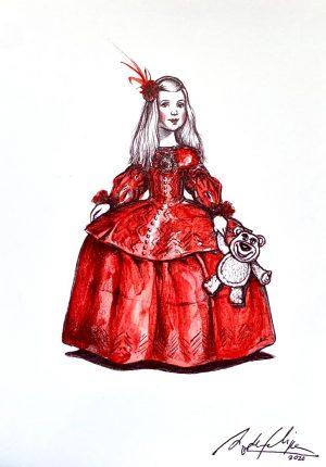 antonio-de-felipe-menina-con-osito-vestido-Rojo