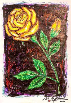 antonio-de-felipe-rosa-amarilla-fondo-negro