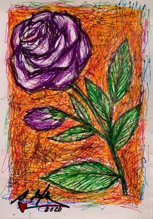 antonio-de-felipe-rosa-violeta-fondo-naranja