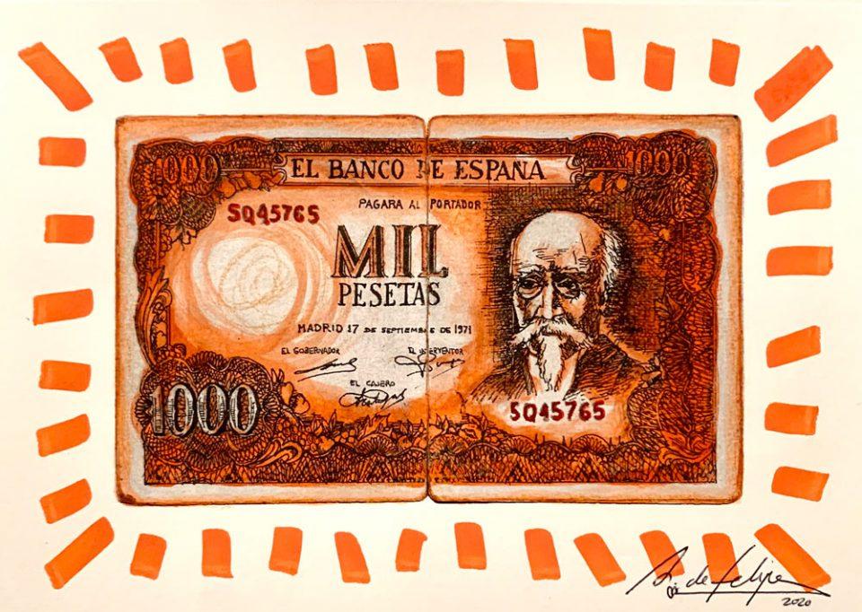 antonio-de-felipe-Billete-de-Mil-pesetas-Naranja