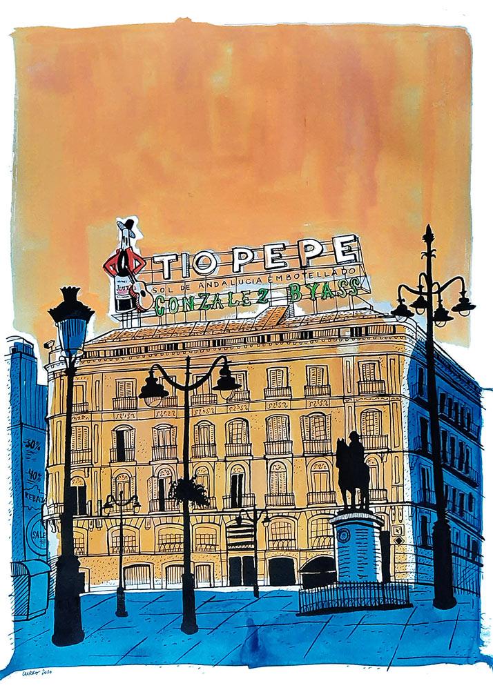 curro-suarez-Sol-Tio-Pepe-naranja-azul-50x70-web