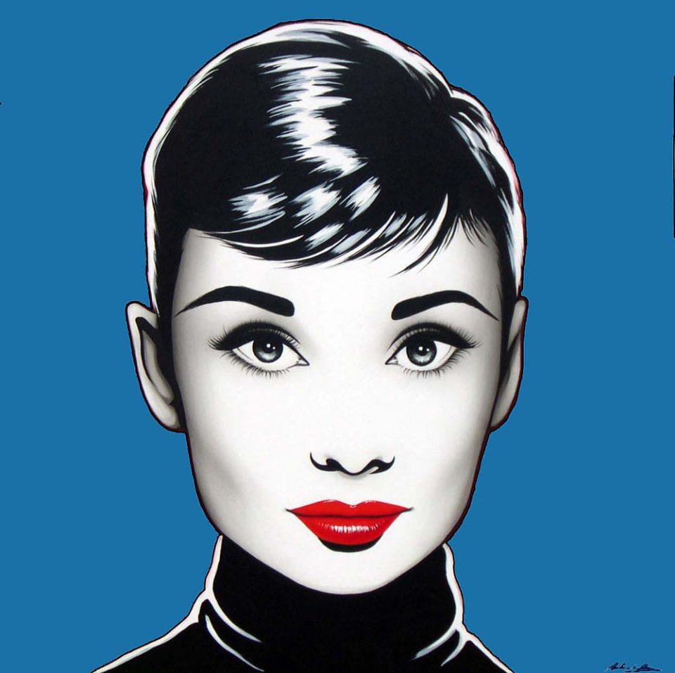 antonio-de-felipe-Black-Audrey-fondo-azul-1-50x50-cm